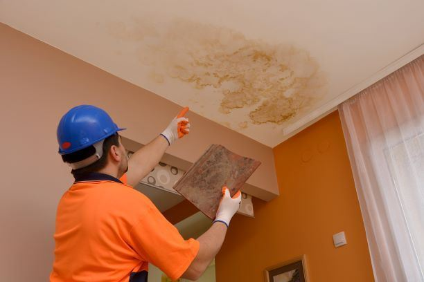 worker pointing at water damage on home ceiling